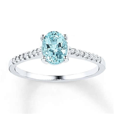 aquamarine ring  ct tw diamonds sterling silver kay