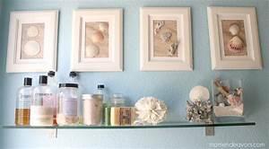 Diy wall art bathroom : Diy framed shell art