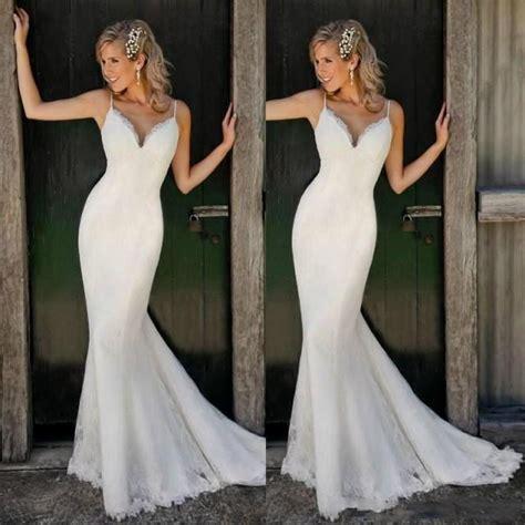 Beach Spaghetti Straps Sleeveless Boho Wedding Dresses