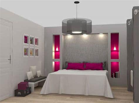 chambre grise et une chambre moderne en camaieu de gris et fushia