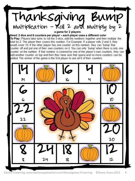 fun games 4 learning thanksgiving math freebies
