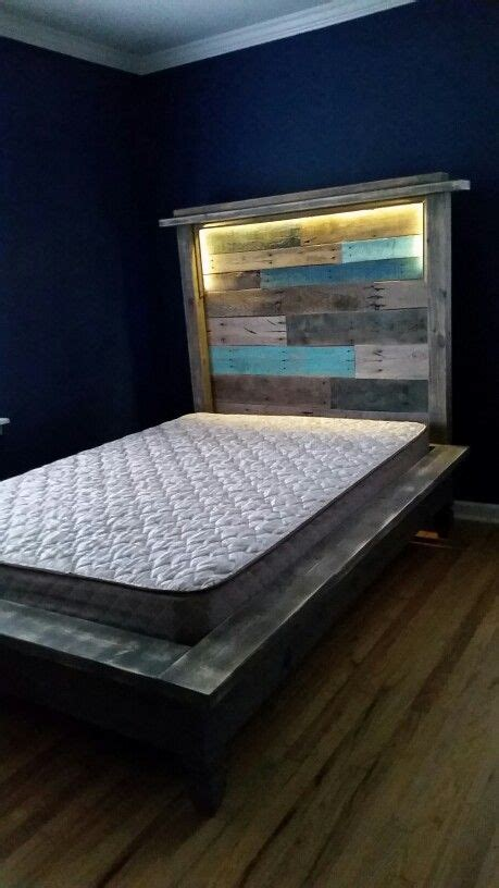 Led Light Headboard by Pallet Headboard And Platform Bed With Led Lights