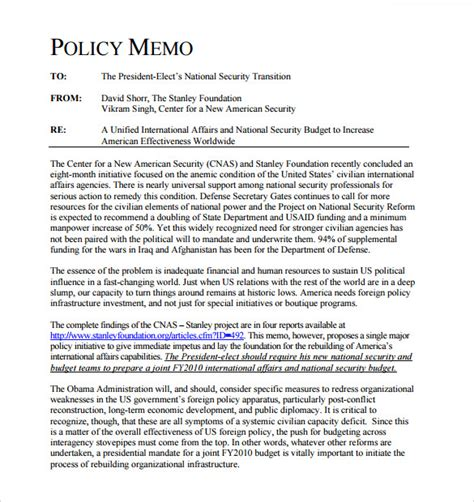 policy memo template sle policy memo 5 documents in word pdf