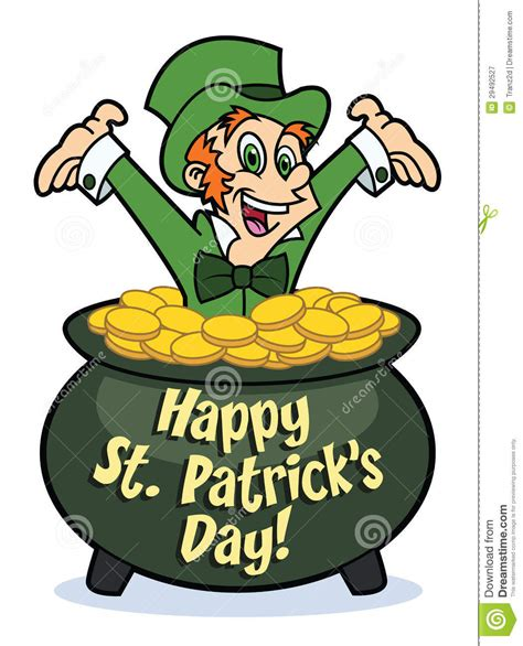 happy leprechaun in pot of gold royalty free stock photography image 29492527