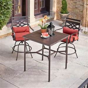 hampton bay middletown 3 piece motion high patio dining With home depot high top patio furniture