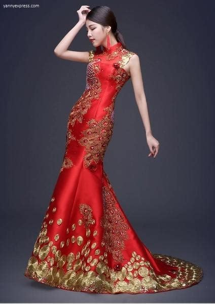 Chinese  Ee  Wedding Ee   Sequin Lace Phoenix Qipao Gown Yannyexpress
