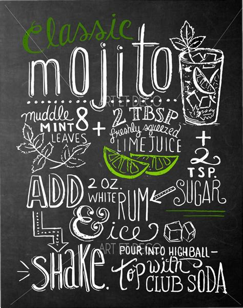 tableau ardoise deco cuisine tableau recette cocktail mojito cuisine ardoise tableau à