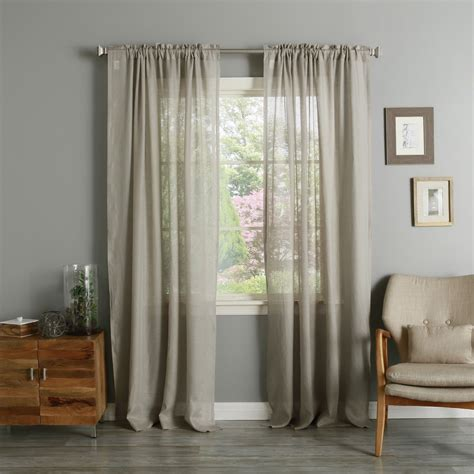 dark natural linen rod pocket curtains