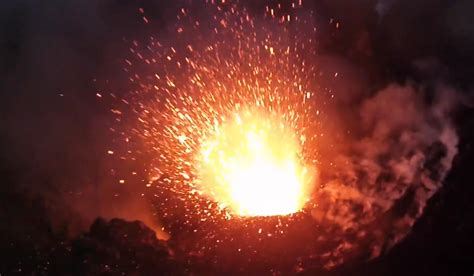 drones eye view    incredible erupting volcano