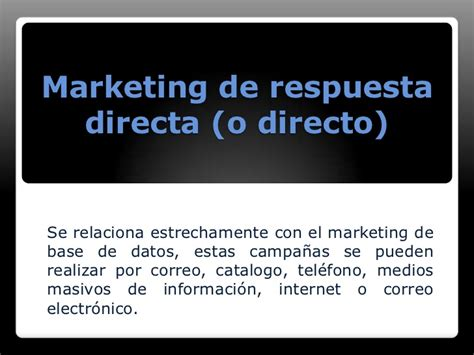 marketing de base de datos y respuesta directa
