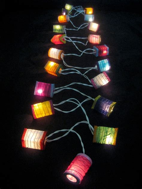 mini lantern lights 35x colourful mini paper lanterns led string