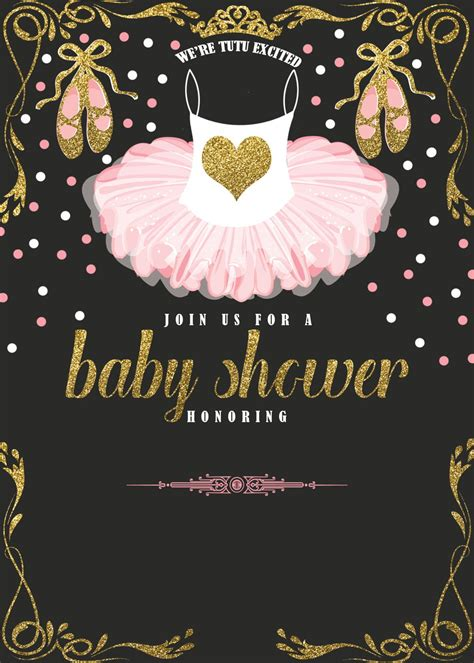 cute ballerina baby shower invitations  cakraest