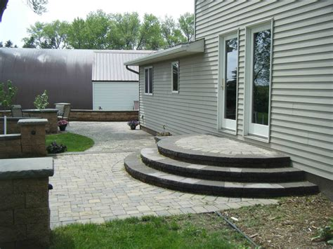small patio paver patio steps leading edge landscapes