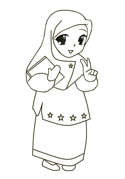 mewarnai gambar kartun anak muslim
