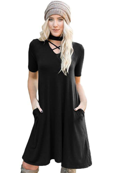 Dress Knit Choker wholesale black soft jersey knit cross front choker dress