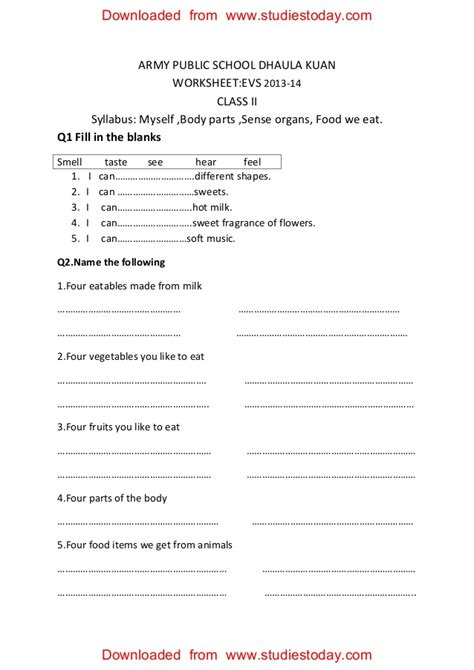 cbse class ii evs worksheets cbse class 2 evs practice worksheets 30 myself parts