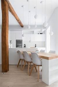 salle a manger bois clair netvani With salle À manger contemporaineavec chaise blanche de cuisine
