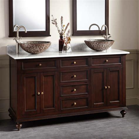 double vessel sink vanity 60 quot keller mahogany double vessel sink vanity dark