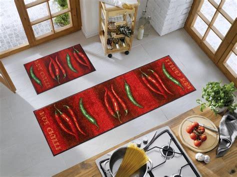 grand tapis de cuisine tapis chili décor piments wash by kleen tex