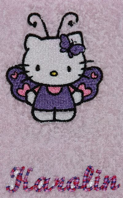 towel   kitty machine embroidery design