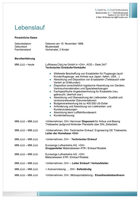 Muster Bewerbung Lebenslauf by Muster Lebenslauf Word Muster Lebenslauf Berufsanf 228 Nger
