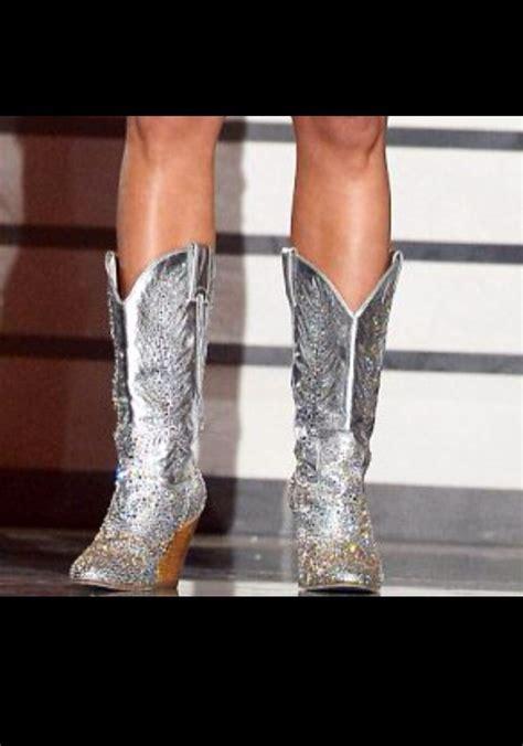 shoes silver cowboy boots miranda lambert rhinestones country country style glitter