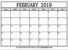 Blank February 2019 Calendar Templates Calenndarcom