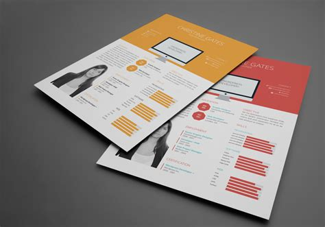 Free Flat Design Resume Template by Free Flat Resume Template Stockindesign