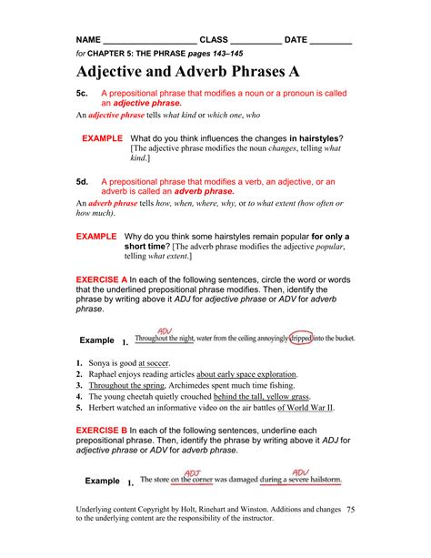 worksheet 75 adjective adverb phrases
