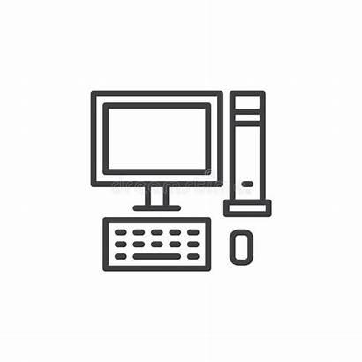 Pc Computer Desktop Outline Pictogram Icon Line