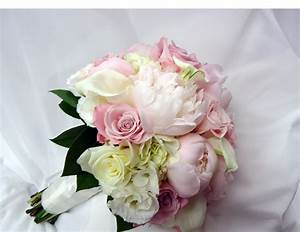 Hand tied bridal bouquet of pale pink peonies, white mini ...