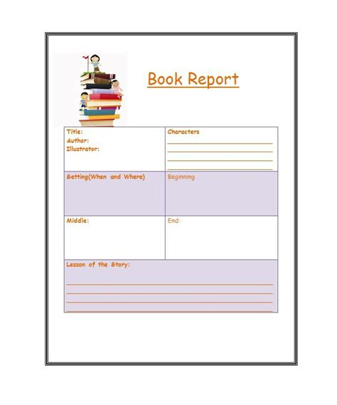 6Th Grade Book Report Template