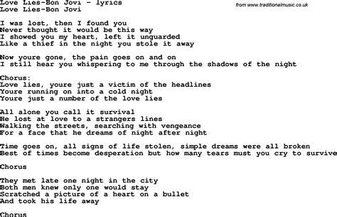 Love Song Lyrics Forlove Liesbon Jovi