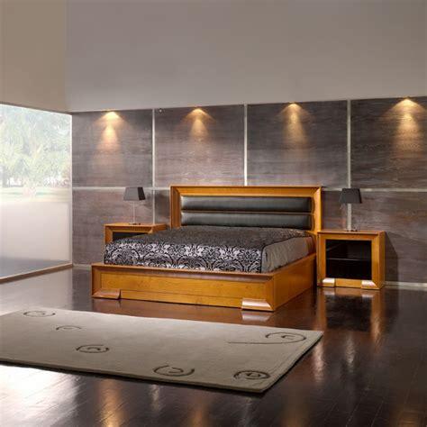 chambre avec salle de bain et dressing lit adulte design contemporain chêne tête de lit