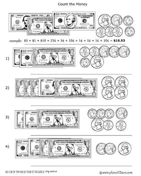 free printable black white worksheet adding coins and