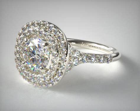 Split Shank Double Halo Pave Diamond Engagement