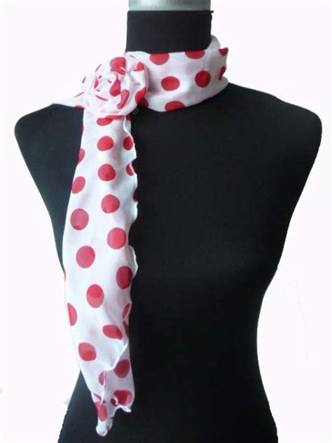 Fashionable White & Big Red Polka Dot Scarf with Clip   WSA02
