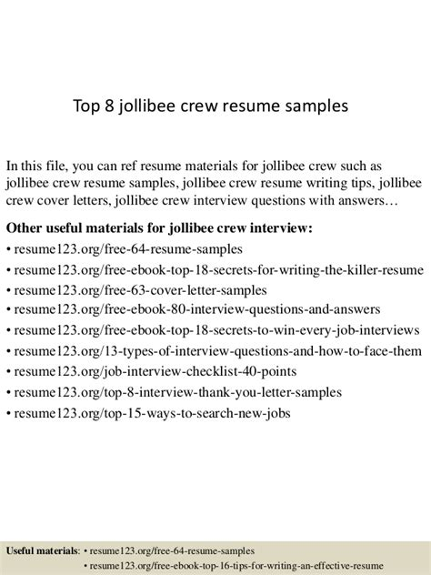 Exle Of Objectives In Resume For Service Crew by Top 8 Jollibee Crew Resume Sles