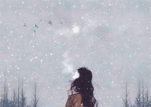 snow winter Illustration girl artist breath gobugipaper ...