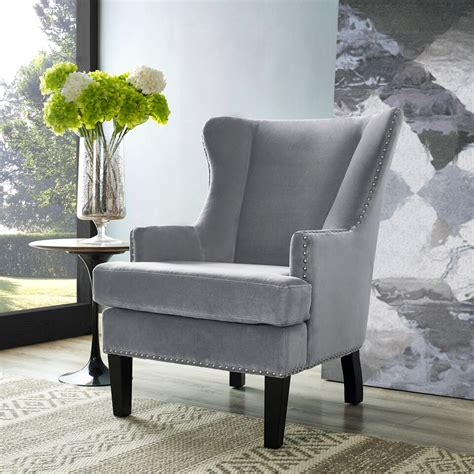 soho gray velvet wing chair 543 90 furniture store