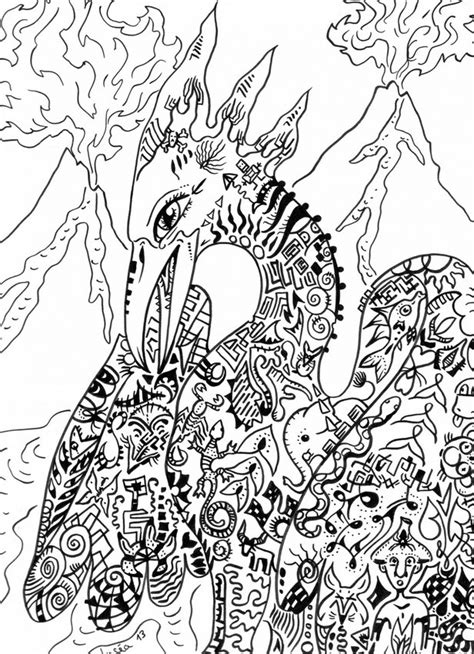 art therapy coloring page fantastic animals phoenix