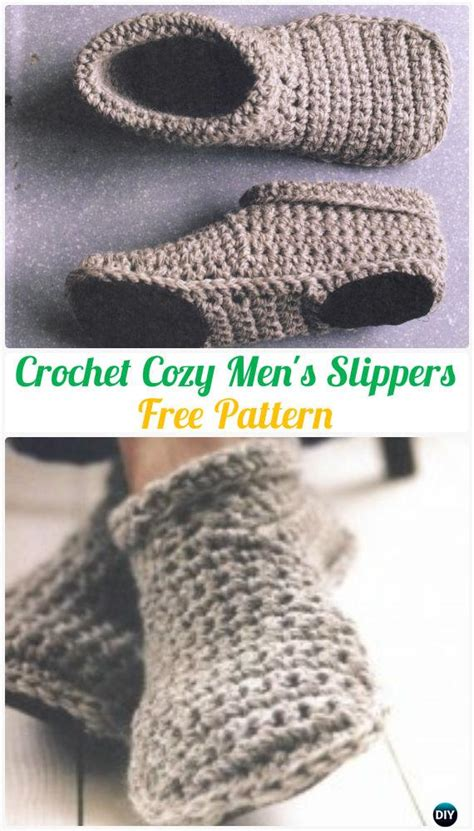 crochet men slippers shoes  patterns instructions