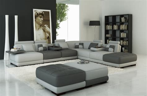tres grand canape canapé d 39 angle en cuir italien 7 8 places elixir gris clair et gris foncé mobilier privé