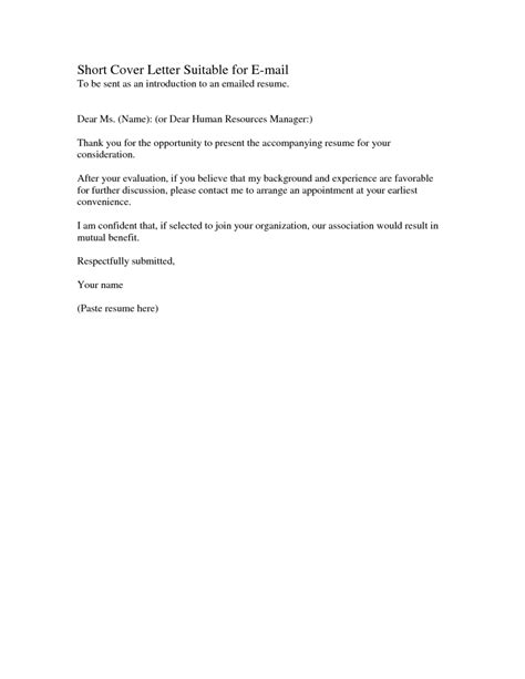 Brief Resume Cover Letter Exle by Sle Cover Letter The Best Letter Sle