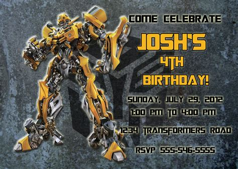transformer birthday invitations bagvania