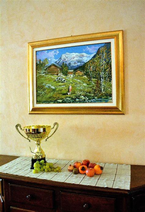 quadri con cornice dipinto olio su tela con cornice paesaggio montano