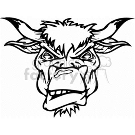 royalty  angry bull head  vector clip art image