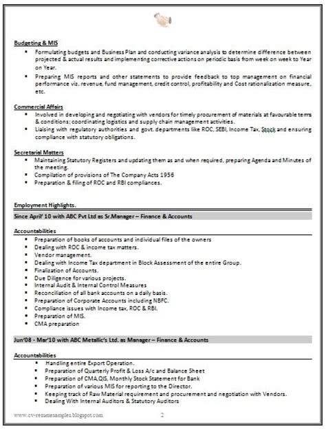 cv resume sle for experienced chartered accountant