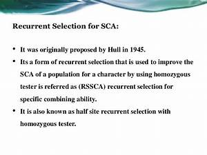 Recurrent Selection Sca1
