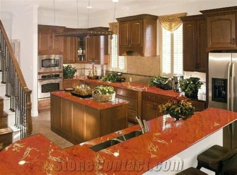 Alicante Kitchen With Dynamic Desig by Rojo Alicante Polished Marble Countertop Design
